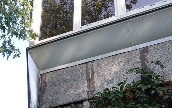 Установка г-образного балкона с выносом по подоконнику/улица Павла Тычины Киев