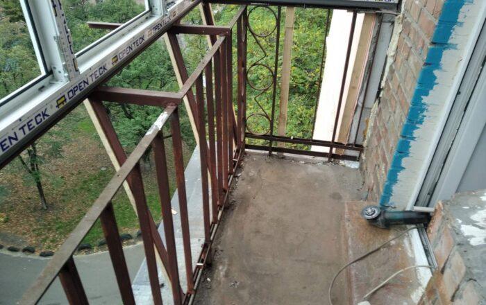 Установка балкона с внутренними работами профиль Open Teck/ул. Сормовская 10/14 Киев