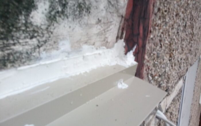 Установка пластикового балкона с выносом по подоконнику/ул. Милославская 25 Киев
